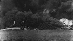 Pearl Harbor's 'Battleship Row' after the Japanese attack.