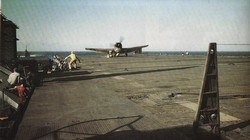 An F-64F Hellcat makes a hard landing on the USS Cowpens during operations in the Gilbert Islands in November 1943.