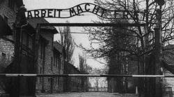 The entrance to Auschwitz concentration camp. The sign 'Arbeit Macht Frei' reads as 'Work Makes You Free'.