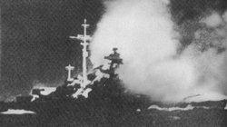The Bismarck fires its main salvo at HMS Hood.