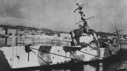 A Fascist Italian patrol boat which was bombed whilst in Livorno harbour.