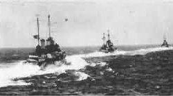 Italian Destroyers steaming to the west of Crete, just prior to the Battle of Cape Matapan, during which the Italians lost 3 Cruisers and 2 destroyers.