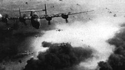 B-24 Liberators of the USAAF over the Ploesti oil refineries in Romania during May 1944.