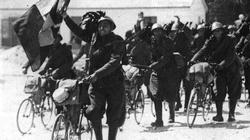 Italian troops advance by bicycle during the invasion of Albania in April 1939.
