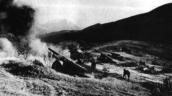 Italian heavy artillery pounds Greek positions in November 1940.