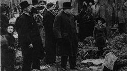 Prime Minister Winston Churchill looking suitably defiant, inspects bomb damage.