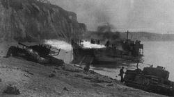 Devastation on the beaches of Dieppe. Burning landing craft, knocked out tanks and dead soldiers were everywhere.